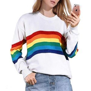 Crewneck White Sweater Rainbow Pride Long Sleeve🌈